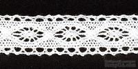 Кружево вязаное, цвет белый, ширина 21 мм, длина 90 см