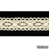 Кружево вязаное, цвет бежевый, ширина 21 мм, длина 90 см