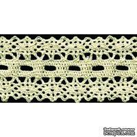 Кружево вязаное, цвет белый, ширина 50 мм, длина 90 см