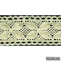 Кружево вязаное, цвет бежевый, ширина 35 мм, длина 90 см