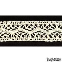 Кружево вязаное, цвет бежевый, ширина 22 мм, длина 90 см