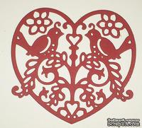 Высечки от Gallery Tools - Влюбленные птички, размер 9 см x 9 см, цвет красный