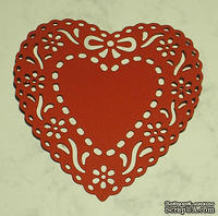 Высечки от Gallery Tools - Сердце с цветами и бантом, размер 8,5х8,5 см, цвет красный
