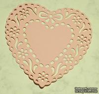 Высечки от Gallery Tools - Сердце с цветами и бантом, размер 8,5 x 8,5 см, цвет розовый