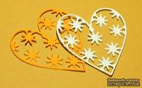 Высечки от Gallery Tools - Сердечко со звездами, 2 шт., размер 4,4х4,8 см, цвет клементин и белый;