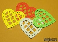 Высечки от Gallery Tools - Сердечки цветные № 1, 4 шт., размер: 4,3х4,3 см, 4 цвета