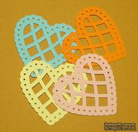 Высечки от Gallery Tools - Сердечки цветные № 2, 4 шт., размер: 4,3х4,3 см, разноцветные