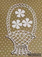 Высечка от Gallery Tools - Корзинка с цветами,  корзинка 6,7х12,7 см; цветы 2,5 см
