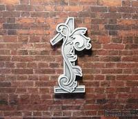 Гипсовое украшение от Е.В.А. - Цифра 1,  с серым патинированием, 6.8х3.9 см