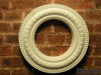 Гипсовое украшение от Е.В.А. - Круглая рамка, белая со звездами,  диаметр - 3,5 см