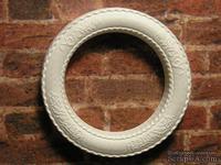 Гипсовое украшение от Е.В.А. - Круглая рамка, белая с узором, диаметр - 3 см