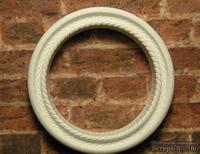 Гипсовое украшение от Е.В.А. - Круглая рамка,  белая со жгутиком, диаметр - 3 см.