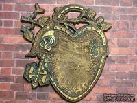 Пластиковый декор от Е.В.А -  Винтажное сердце, под металл, 7х6,7 см