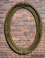 Гипсовая овальная рамка под бронзу от Е.В.А., 12.2х8.7 см