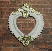"""Гипсовая рамочка от Е.В.А  - """"Сердце"""" белая с золотыми узорами, 7х5.8 см"""