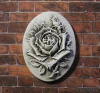 Гипсовая камея от Е.В.А. - Роза с патинированием, 3.6х2.8 см