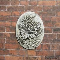 """Гипсовая камея от Е.В.А. - """"Бабочка на цветке"""" с патинированием, 3.6х2.6 см"""