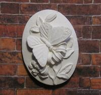 "Гипсовая камея от Е.В.А. - ""Бабочка на цветке"", 3.6х2.6 см"