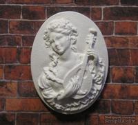 """Гипсовая камея от Е.В.А. - """"Девушка с мандалиной"""", 3.8х2.9 см"""
