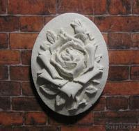Гипсовая камея от Е.В.А. - Роза, 3.6х2.8 см