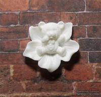 Мишка в цветке, пластиковое украшение от Е.В.A, цвет белый, 2смх2,3см