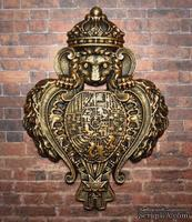 """Гипсовый декор """"Лев с щитом"""" под бронзу от Е.В.А, размер 9,5х6,9см"""