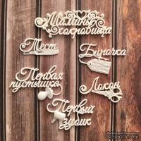 Пластиковые украшения Мамины сокровища: набор надписей, 6 шт от Е.В.A