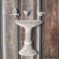 Набор гипсового декора с патинированием - фонтан и 3 птички от Е.В.A, высота 6 см. - ScrapUA.com
