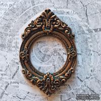 Гипсовая рамочка круглая под бронзу от Е.В.A, 8,7х5,7см, 1 шт.