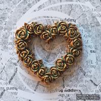 Гипсовое сердце из цветов под античное золото от Е.В.A, 5,7х5 см 1 шт.