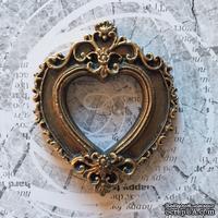 """Гипсовая рамка """"Сердце"""" под античное золото от Е.В.A, 5,8х7см, 1 шт. - ScrapUA.com"""