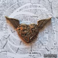 """Гипсовое украшение """"Механическое сердце в стиле """"стимпанк""""  под античное золото от Е.В.A, 7см, 1 шт."""