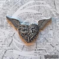 """Гипсовое украшение """"Механическое сердце в стиле """"стимпанк"""" с патенированием  от Е.В.A, 7см, 1 шт."""