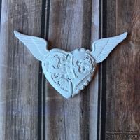 """Гипсовое украшение """"Механическое сердце в стиле """"стимпанк"""" белое от Е.В.A, 7см, 1 шт."""