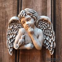 """Гипсовое украшение """"Ангел с птичкой"""", с патенированием, от Е.В.A, 5х5см, 1 шт."""