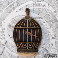"""Пластиковое украшение """"Птичка в клетке"""" под античное золото от Е.В.A, 5,5х3,7см, 1 шт."""