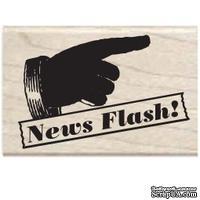 Резиновый штамп Studio G - News flash рука, 5.5х3.5 см, на деревянном блоке
