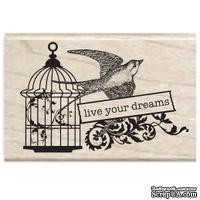 Резиновый штамп Studio G - Live your dreams Птичка с клеткой, 5.5х3.5 см, на деревянном блоке