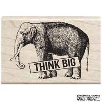 Резиновый штамп Studio G - Think big Слон, 5.5х3.5 см, на деревянном блоке