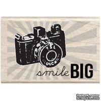 Резиновый штамп Studio G - Smile big Фотокамера, 5.5х3.5 см, на деревянном блоке