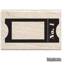Резиновый штамп Studio G - Билетик №1, 5.5х3.5 см, на деревянном блоке