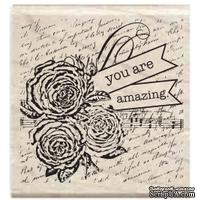 Резиновый штамп Studio G - You are amazing Розы и письмо, 5х5 см, на деревянном блоке