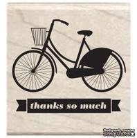 Резиновый штамп Studio G - Thanks so much Велосипед, 5х5 см, на деревянном блоке