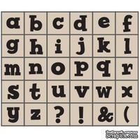 Набор резиновых штампов Studio G - Алфавит, Маленькие 2 жирные, 30 штук, на деревянном блоке