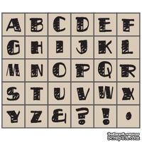 Набор резиновых штампов Studio G - Алфавит, Большие 5 жирные штриховка, 30 штук, на деревянном блоке