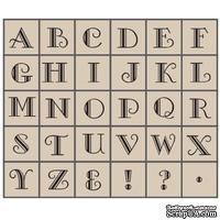 Набор резиновых штампов Studio G - Алфавит, Большие 6 двойные, 30 штук, на деревянном блоке