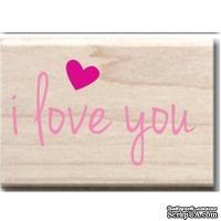 Резиновый штамп Studio G - I love you, 5.5х3.5 см, на деревянном блоке
