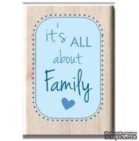 Резиновый штамп Studio G - It's all about family, 5.5х3.5 см, на деревянном блоке