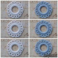 Вязаный мотив от Allmacraft - фишки ажурные в наборе, белые и голубые, 3.5 см, 6 штук