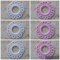 Вязаный мотив от Allmacraft - фишки ажурные в наборе, белые и розовые, 3.5 см, 6 штук